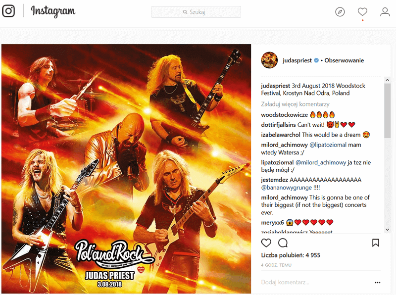 Koncert Judas Priest na PolAndRock Festival 2018 w Kostrzynie